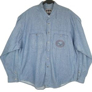 Biker Blues Harley Davidson Denim Button Shirt 2XL